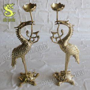 Đôi hạc thờ đúc bằng đồng vàng