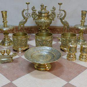 Bộ đồ thờ 14 món bằng đồng vàng - Được đúc theo công nghệ Đài Loan