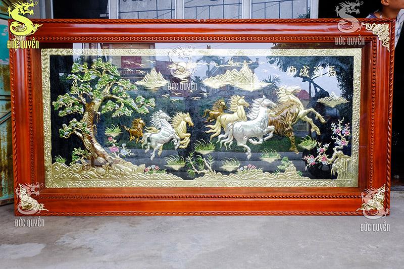 Tranh Đồng Bát Mã Truy Phong Khung Gỗ