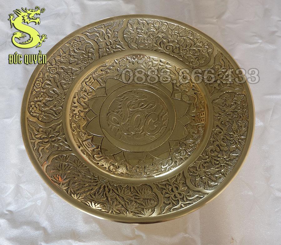 Mâm bồng bằng đồng đúc nổi chữ Lộc