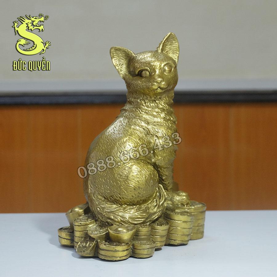 Tượng mèo phong thủy bằng đồng vàng