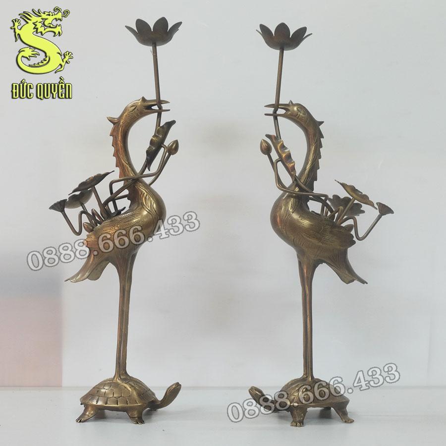 Đôi hạc thờ bằng đồng hun màu giả cổ