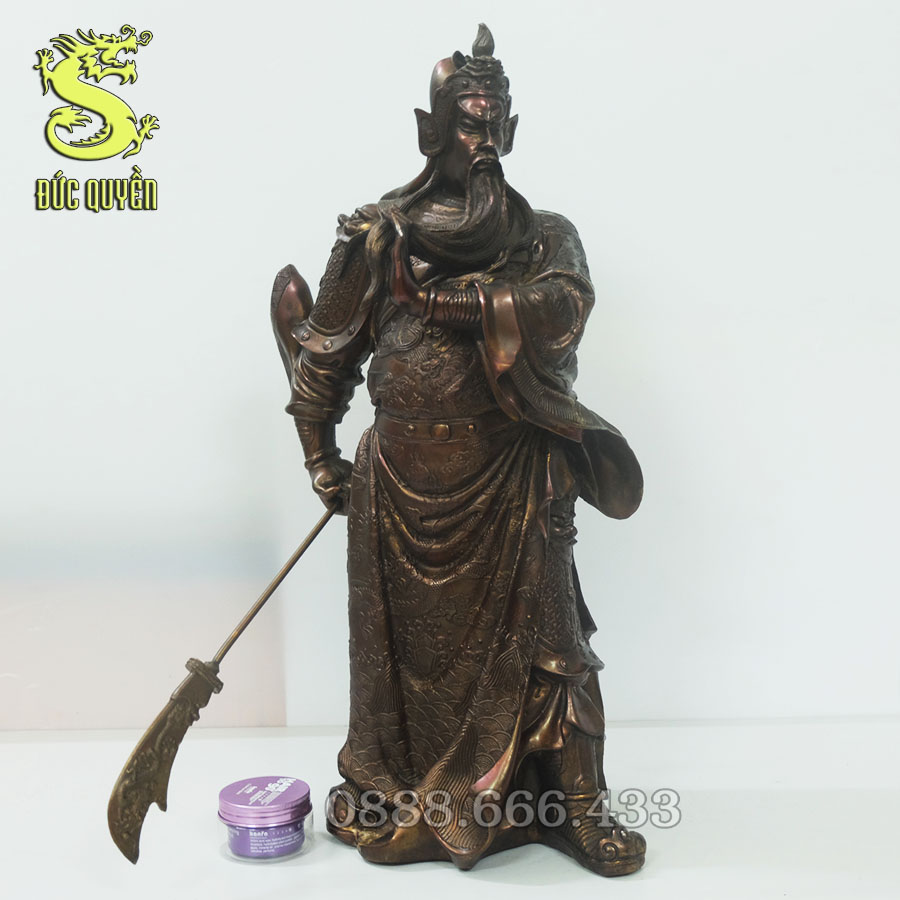 Tượng Quan Công trấn ải bằng đồng vàng ( giả cổ )