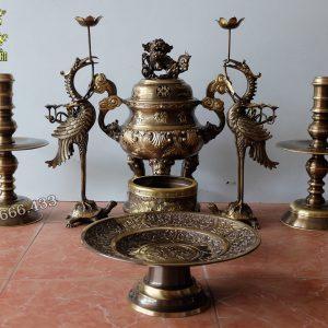 Bộ đồ thờ 7 món đỉnh đồng đúc nổi hoa sòi