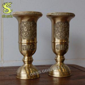 Đôi ống hương bằng đồng vàng