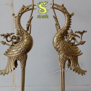 Đôi hạc thờ cánh tiên bằng đồng vàng