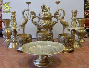 Bộ thờ gồm 11 món đỉnh đồng cao 50cm