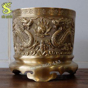 Ba bát hương bằng đồng màu vàng mộc