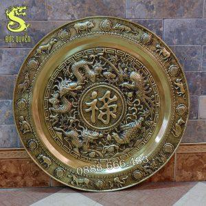 Tranh mâm chữ Lộc bằng đồng