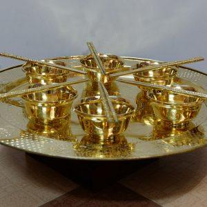 Bộ mâm bát đũa bằng đồng vàng