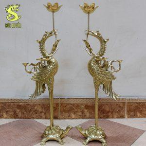 Đôi hạc thờ bằng đồng vàng